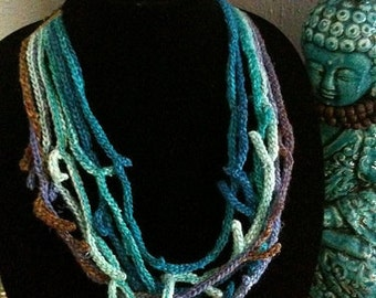 Coral Reef Ocean Water Free Form Necklace Hand Crocheted Blue and Purple