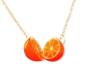 Orange Fruit Necklace - Pendant, Tropical, Juicy, Kitsch, Tangerine, Nectarine, Handmade