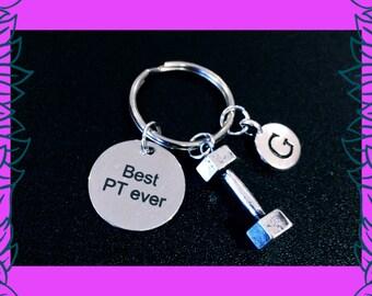 Personal trainer gift, fitness keychain gift, 3D dumbbell keyring, bespoke personal training fitness gift UK