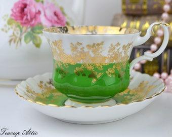 Royal Albert Green Regal Series Teacup and Saucer Set, Bone China Teacup and Saucer, ca. 1970