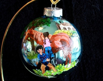 Hand Painted Ornament Brother helping sister on horse item 87