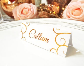 Tented Wedding Table Cards. Rose Gold Foil Place Cards. Real Foil Silver Wedding Tented Name Cards.
