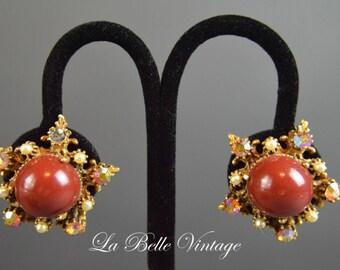 50s Florenza Earrings Vintage Rhinestone Cinnamon Stars