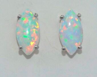 Genuine Opal Marquise Stud Earrings .925 Sterling Silver Rhodium Finish