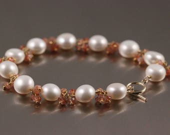 Freshwater Button Coin Pearl Sunstone Bracelet, White and Orange, June Birthstone, 14k Gold Filled, Gemstone Cluster, Toggle Clasp
