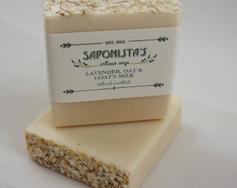 Lavender, Oat and Goat's Milk Cold Process Soap Bar