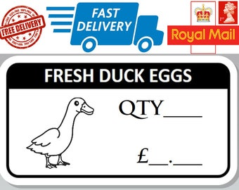 100 x Fresh Duck Egg Box Stickers With Quantity and Price Freshly Laid eggs