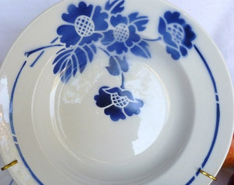 Antique french, Moulin des Loups Orchies France, dishes, soup bowls, plates, set of 4