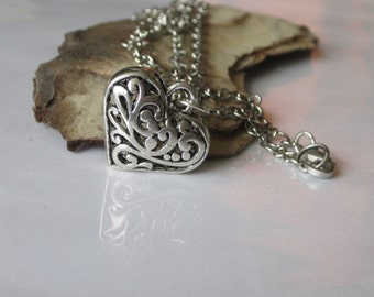 Heart Necklace, Heart Jewelry, Filigree Necklace, Antiqued Silver Puff Heart, Romantic Necklace, Hollow Heart Pendant, Victorian Pendant