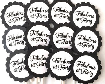 Fabulous at 40 Birthday Cupcake Toppers, Ready to Ship, Set of 12