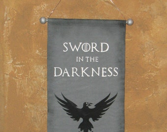 "Hand Painted Night's Watch ""Sword in the Darkness"" Canvas Banner - ""Watchers on the Wall"" Game of Thrones - Wall Hanging - Cosplay Prop"