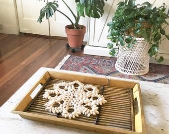 Vintage Bamboo Tray • Tiki Bar  • Coastal Decor