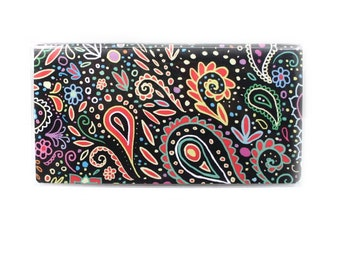 Checkbook Cover - Chalkboard Doodle Paisley - cute check book holder in black and neon - mehndi inspired women's accessory