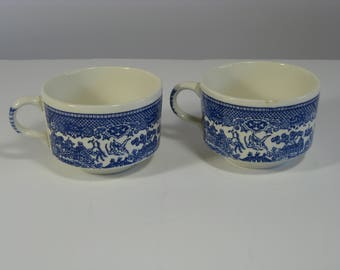 Vintage Blue Willow porcelain china flat cup by SCIO Pottery Co, Made in USA