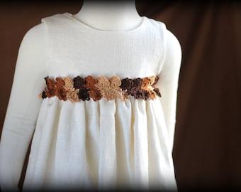 Brown flower girls dress, Fall dresses, rustic wedding dress, Linen dress, crochet lace, Brown Dress, Brown lace dress, Birthday dress,