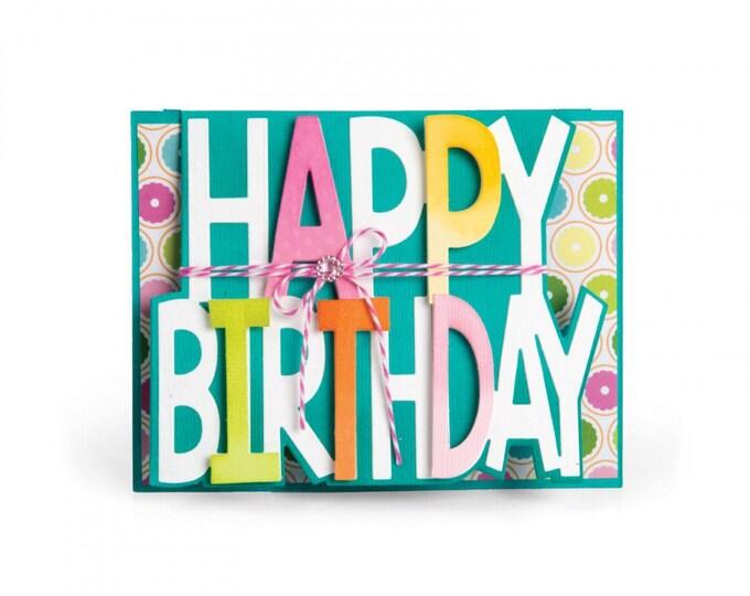 Sizzix Framelits Die Set 3PK - Card, Happy Birthday Drop-ins by Stephanie Barnard
