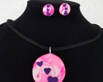 Polymer Clay Heart Pendant and Earring set