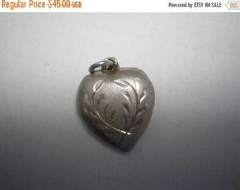 Vintage Sterling Puffy Heart Charm  Etched Flowers with  A      Item No: 16263