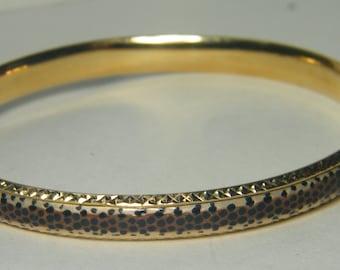 Vintage 14kt yellow gold enamel ladies bangle bracelet