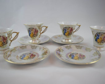 Vintage 24K Gold Trimmed MZ Thun Czeck Porcelain (bone china) Tea Cups and Saucer Set of 4 Victorian Pattern Mother of Pearl Luster