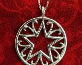 CP102 Vintage Sterling Silver Necklace with Sterling Silver Pendant