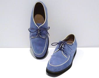Hush Puppies Shoes Size 9 Womens Vintage Blue Suede Leather Oxford Flats Rockabilly Hipster Grunge Geekery 1990s