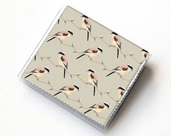Handmade Vinyl Moo Square Card Holder - Geometric Birds / case, vinyl, snap, wallet, mini card case, moo case, square, bird, woodland
