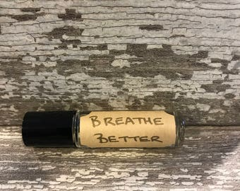 Breathe Better Essential Oils Rollerball, Essential Oil Roller Blend, essential oil roll on, congestion relief, sinus relief, natural remedy