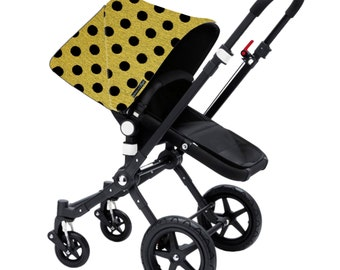 "Bugaboo Cameleon, Bee, Donkey, Frog Custom canopy hood cover ""Polka dot yellow and black wool"" by Stroll N Style"