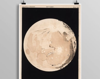 Moon Phases Poster - Moon Art - Moon Poster - Moon - Outer Space - Telescope - Astronomy - Moon Phases Art - Full Moon - Astronomy 0443