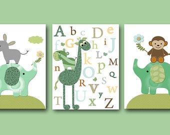 Childrens Art Baby Boy Nursery Art Print Childrens Wall Art Baby Room Decor set of 3 Elephant Giraffe Nursery Alphabet Nursery Green