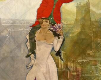 """Tela Canvas Chagall Art 03 """"Doppio ritratto"""" Stampa d'Arte su tela 70x100 cm Art Printing on Canvas (27x39 inch) papiarte"""