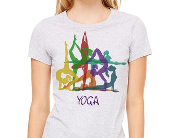 Yoga t-shirt, heather gray t-shirt, women's t-shirt, gray tee, Yoga, Yoga shirt, Yoga tee, Yoga Clothing