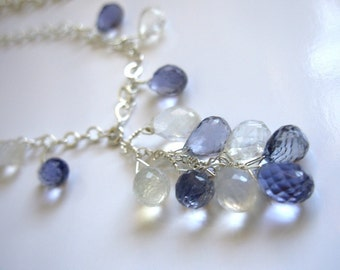 Iolite, rainbow moonstone, and sterling silver cluster necklace