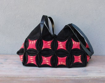 Tribal Geometry Bag - Cathedral Window Quilting and Orinuno with Antique Ikat and upcycled Leather