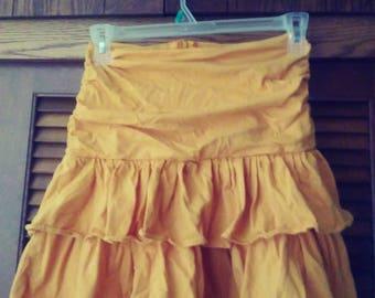 90s Gold Ruffled Skirt/Ruffled Skirt/Gold Skirt/Vintage Skirt