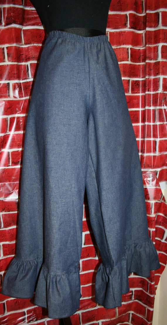Womens Ruffle Pants - Cropped with One Ruffle - Elastic Waist (Custom Handmade - XXS - XXL)