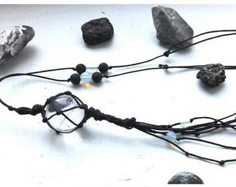 Rock crystal amulet necklace