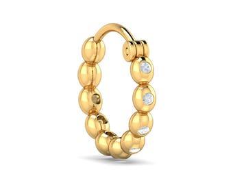 KuberBox Delu Beaded Nose Ring 18K White Gold SI-HI Certified Diamonds