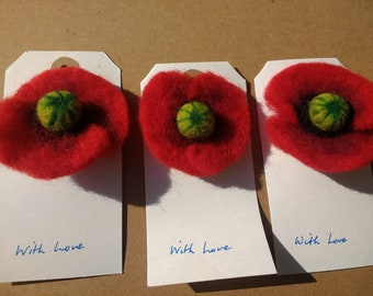 Needle Felt Poppy Broach