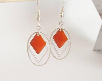 Graphic earrings two-sided enamel orange