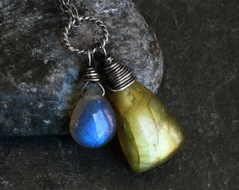Labradorite Necklace - Labradorite Jewelry - Oxidized Sterling Silver Necklace - Green - Gold - Blue - CircesHouse