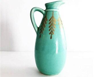 Vintage Aqua Ceramic Pitcher with Gold Leaf Cobbs Florida Mid Century Modern USA Pottery
