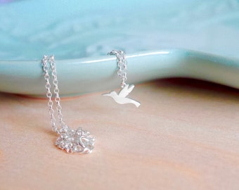 Sterling Silver Hummingbird Necklace   Silver Chain   Hummingbird Pendant   Bird Necklace   Layering Necklace   Cute Necklace   Animal