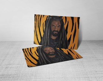 Illustrated King Ezekiel on Postcard (Part of the 'Save Our Stripes' Campaign)