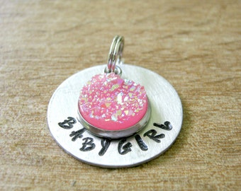 Babygirl Collar Charm, Hot Pink Druzy Pendant, Daddy's Baby girl collar tag, Babygirl pendant, customize with your wording, DDlg collar tag