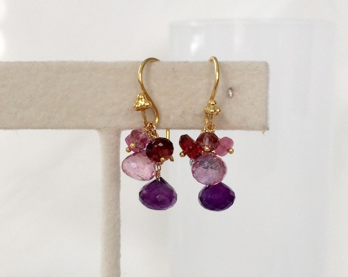 Pink Sapphire and Amethyst Earrings in Gold Vermeil with Mystic Pink Topaz, Mystic Pink Quartz, Garnet and Iolite