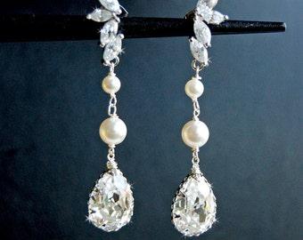 Wedding Pearl Earrings, Bridal Chandelier Swarovski Crystal Cubic Zirconia Drop Earrings - Glistening Evette With Pearls