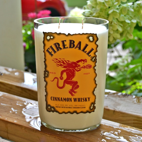 Fireball Cinnamon Whiskey Bottle Candle made with soy wax