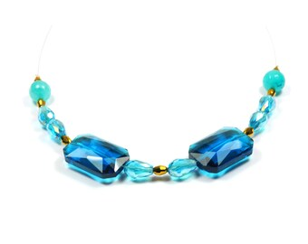 Necklace Crystal and turquoise blue-green gemstone beads